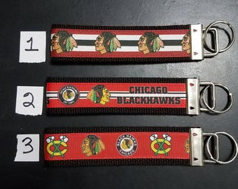 Chicago key fob, Hawks wristlet, hockey keychain