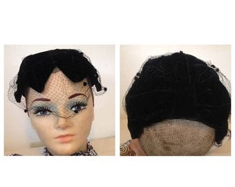 On Sale Black Vintage Hat with Netting