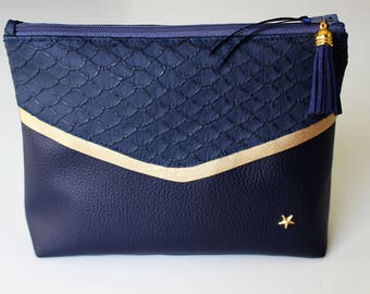 Blue and gold faux leather pouch