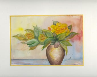 Yellow bouquet - original watercolor painting