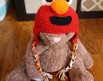 Elmo Crochet Hat - Newborn, Baby, Toddler, Infant, Child, Trapper Hat, Winter Hat, Red