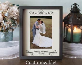 Custom Wedding Picture Frame - Abstract Cross - Anniversary Frame - Shadow Box - Vinyl on Glass - 8x10 - 11x14