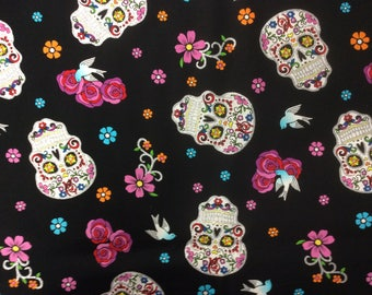 Day of the Dead/ Sugar Skull/ Cotton Fabric/ Sold By The Half Yard