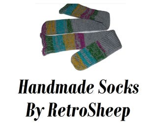 Retro Custom Handmade  Knitted Socks Tube ankle / boot / bed / lounge / Diabetic / UNISEX ONE SIZE #sockclub #socks
