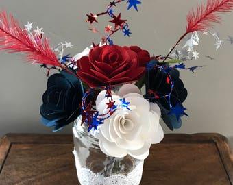 Americana Paper Floral Arrangement with Vase