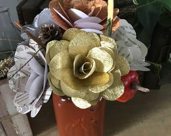 Fall Floral Bouquet with Vase, Autumn Paper Flower Arrangment