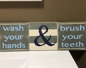 Hand painted wooden sign - bathroom sign - wash your hand - brush your teeth