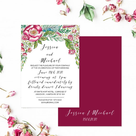 Marsala wedding invitations, Marsala and blush wedding invitations, Burgundy floral wedding invitations, Invitation Set, A5 Printed