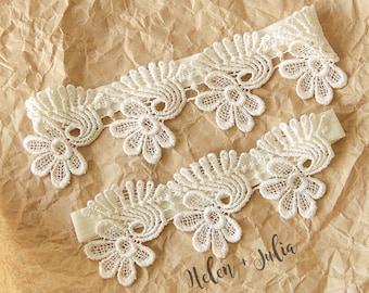 Ivory Soft Venice lace Wedding Garter,Wedding Garter Set, Bridal Ivory Lace Garter Belt, Vintage Wedding Garter