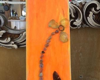 Wood slab decor, wall hanging, nature decor, seashell decor, beach theme decor