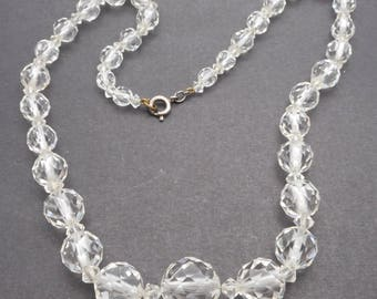 Vintage Art Deco Period Faceted Glass Crystal Necklace with Sterling Clasp - 16""