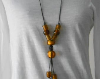 Silverfoil gold color glass beaded leather necklace