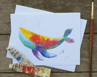 Whale Watercolor Greeting Card