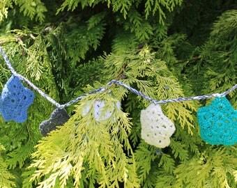 Crochet sun/star boho bunting/garland, fun crochet gift, bedroom/party decor, Handmade Christmas tree decoration, stocking filler, teen gift