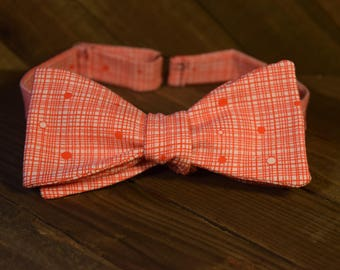 Red Plaid/Dot Self Tie Bow Tie