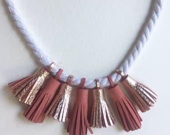 Two Tone Leather Tassel Statement Necklace