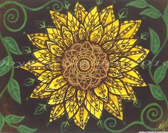 "Sunflower Mandala - Print, Giclee, Original Art, 13.5 x 9.5"""