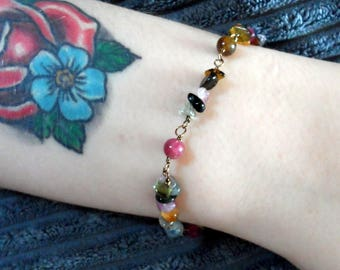 Multi Coloured Natural Tourmaline Bracelet