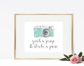 Photo Booth Printable - Grab a Prop and Strike a Pose, Wedding Printable