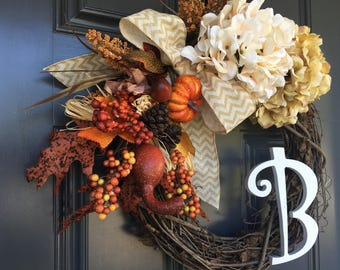 Grapevine Seasonal Monogram Wreath