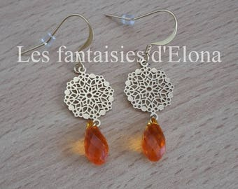 Orange earrings in 14 K Gold-filled with color swarovski crystal drops.
