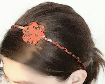 Headband flower, hair accessory, black and Red