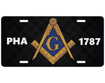 Midnight PHA 1787 Mason License Plate Masonic Prince Hall Truck Auto Car Emblem