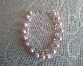 silver plated bracelet light pink pearl beads