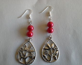 flowers and Pearl Earrings