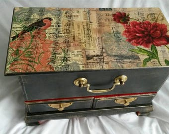 Large vintage jewellery box mini chest drawers Art deco oriental  french Paris hand decorated with decoupage. shabby chic.upcycled box