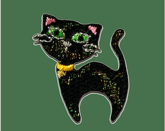 Patch/Bracket-CAT animal-black-3.3 x 2.5 cm-by catch-the-Patch ® patch appliqué applications for ironing application patches patch