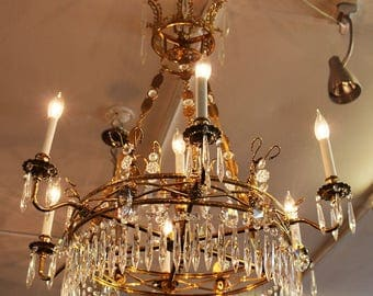 Superb French Empire Chandelier Brass & Crystal Pendants Jeweled MINT