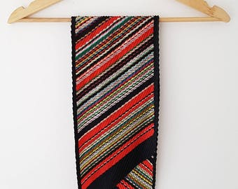 Vintage scarf   Red & black striped design   Lovely pleat detail