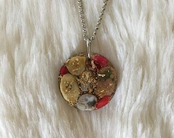 Resin Crystal Pendant with Orgone Energy, Ocean Jasper & Red Coral Orgone Generator Pendant, Orgone Necklace