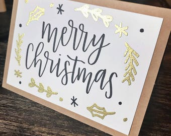 Set of 5 Merry Christmas Cards with Gold Embossing - Handmade Rustic Calligraphy Cards