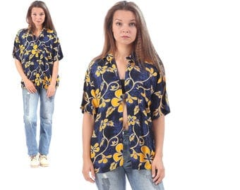 Blue HAWAII Shirt 80s Floral Tropical Tiki Print Navy Yellow White 90s Hawaiian Beach Boys Retro Ibiza Short Sleeve Hipster Medium to Large