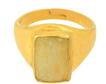 Customized Listing For Ring Design,Birthstone Gemstone-Yellow Sapphire -Pukhraj-Astrological Handmade Ring in 925 Silver, 14kt Gold