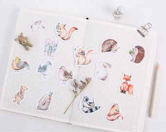 45 Pieces Cute Little Animals Stickers - Rabbit, Fox, Birds, Hedgehog, Planner, Journal, Craft, Scrapbooking, Decoration