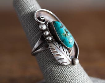 Vintage Sterling Turquoise Ring, Navajo Sterling Ring, Navajo Turquoise Ring, Vintage Navajo Jewelry, Old Pawn Sterling