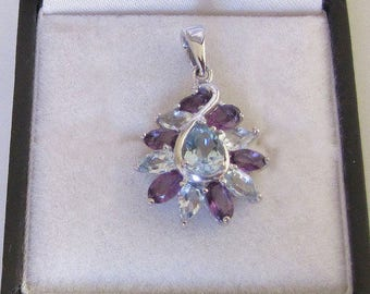 Decorated with natural amethyst and Blue Topaz 925 Sterling Silver Pendant