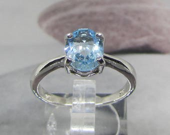 Ring Silver 925 Blue Topaz faceted size 54
