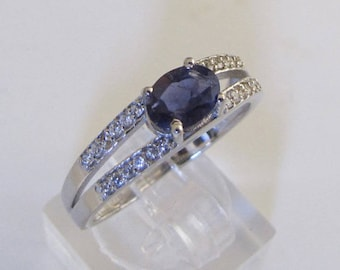 Phalanx ring in silver and Iolite oval size 54