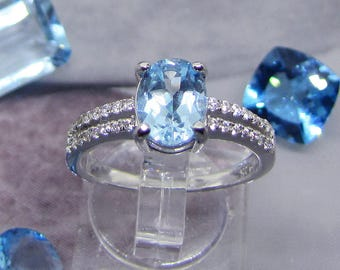 Ring silver and Blue Topaz oval size 54