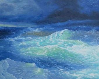 Stormy Sea, Blue, Seascape, Bousie, oil painting