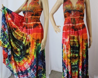 Vintage tie dyed long slip dress modern size small - medium - one of a kind