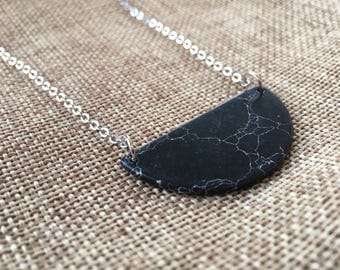 Black Howlite Crescent Shaped Necklace