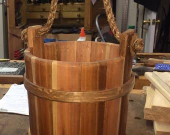 Coopered wooden bucket