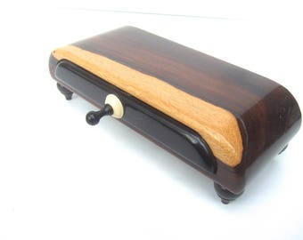 Sleek Handmade Wood Artisan Trinket Box