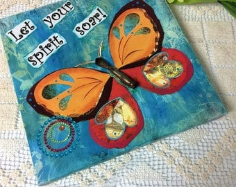 Butterfly Mixed Media Collage Inspirational artwork Vibrant Colorful Hippie art Boho art