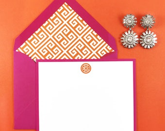 Greek Key Personalized Stationery, 10 Note Cards and Lined Envelopes, Thank You Cards, Wedding Stationery, Bridesmaid